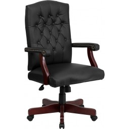 Martha Washington Leather Executive Swivel Chair - 2 Seat Optios