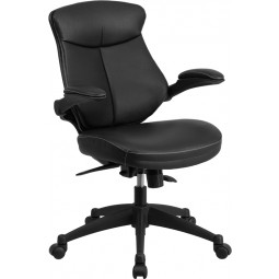 Mid-Back Black Leather Office Chair with Back Angle Adjustment and Flip-Up Arms