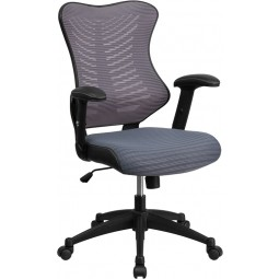 High Back Mesh Chair with Nylon Base - Gray