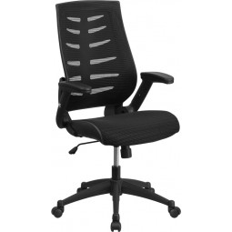 High Back Black Mesh Chair with Designer Fabric Seat and Nylon Base