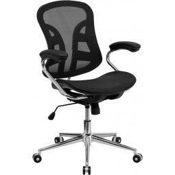 Mid-Back Black Mesh Computer Chair with Chrome Base