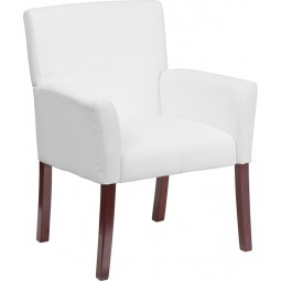 Leather Executive Side Chair or Reception Chair with Mahogany Legs - 3 Seat Options