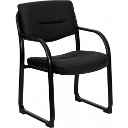 Black Leather Executive Side Chair with Sled Base