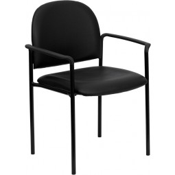 Comfortable Stackable Steel Side Chair with Arms - 5 Seat Options
