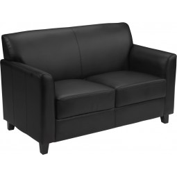 Signature Diplomat Series Black Leather Love Seat