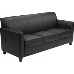 Signature Diplomat Series Black Leather Sofa