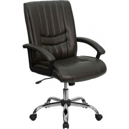 Mid-Back Leather Manager's Chair - 2 Seat Options