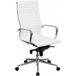 High Back Ribbed Upholstered Leather Executive Office Chair - 3 Seat Options