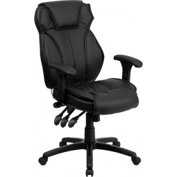 High Back Black Leather Executive Office Chair with Triple Paddle Control