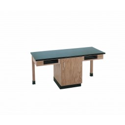 "UV Finish Solid Oak 2 Station Table with Book Storage and Cabinet, 66""W - 4 Top Types"