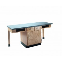 "UV Finish Solid Oak 2 Station Table with Book Storage, Drawer/Cabinet, 66""W - 4 Top Types"