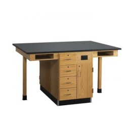 "UV Finish Solid Oak Wood 4 Station Service Center, 66""W - 2 Top Types"