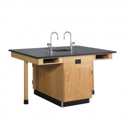 """UV Finish Solid Oak 4 Station Service Center with Full Cupboard, Sink, 66""""W - 2 Top Types"""