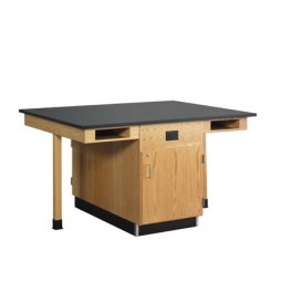 """UV Finish Solid Oak 4 Station Service Center with Full Cupboard, 66""""W - 2 Top Types"""