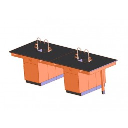 "UV Finish Solid Oak 8 Station Service Center with Full Cupboard, Sink, 132""W - 2 Top Types"