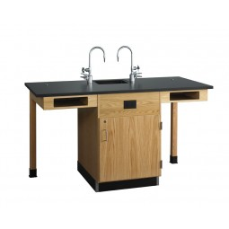 "UV Finish Solid Oak 2 Station Service Center with Full Cupboard, Sink, 66""W - 2 Top Types"