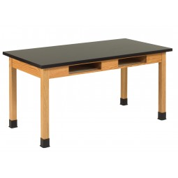 "UV Finish Solid Oak Wood Table with Book Compartment, 60""W - 3 Top Types"