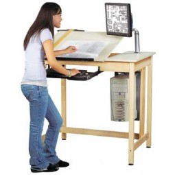 "UV Finish Solid Maple Wood Deluxe Drawing/CAD System Table with Trays, Holder and Arm, Plastic Laminate Top, 42""W x 39¾""H x 30""D"