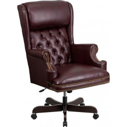 High Back Traditional Tufted Leather Executive Office Chair - 3 Seat Options