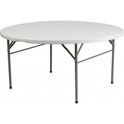 Round Bi-Fold Granite White Plastic Folding Tables - 3 Sizes Available