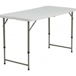 24''W x 48''L Height Adjustable Granite White Plastic Folding Table