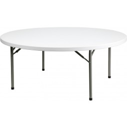 Round Granite White Plastic Folding Tables - Multiple Sizes Available