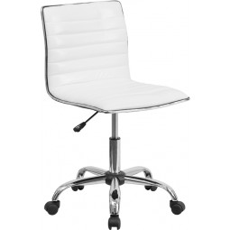 Mid-Back Armless Ribbed Designer Task Chair - 2 Seat Options