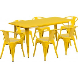 31.5'' x 63'' Rectangular Yellow Metal Indoor Table Set with 6 Arm Chairs