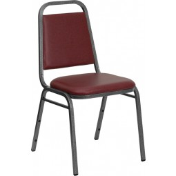 Signature Series Trapezoidal Back Stacking Banquet Chair with Burgundy Vinyl Thick Seat - Silver Vein Frame - 2 Seat Options