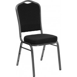 Signature Series Crown Back Stacking Banquet Chair 2.5'' Thick Seat - Silver Vein Frame - 7 Seat Options