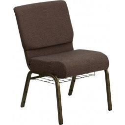 Signature Series 21'' Extra Wide Brown Fabric Church Chair with 4'' Thick Seat, Communion Cup Book Rack - 7 Seat Options