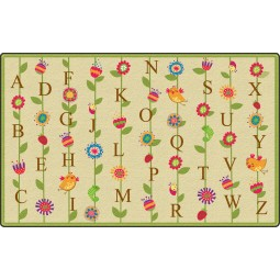 Blooming Alphabet in Tan Educational Rug