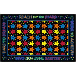 Reach for the Stars Educational Rug in Black