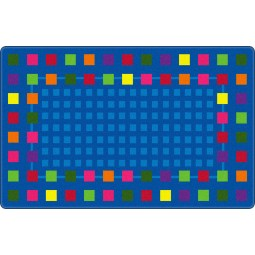 Rebordered Squares in Indigo Educational Rug