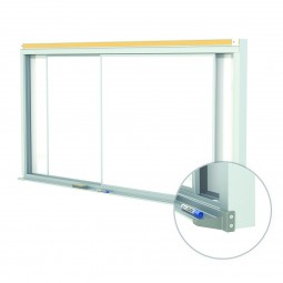 Horizontal Sliding Panel Unit Porcelain Magnetic 28-Gauge Whiteboards by Ghent