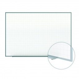"Phantom Line Magnetic Whiteboard - 2"" x 2"" Grid Pattern - Aluminum Frame by Ghent"