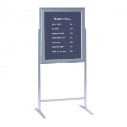 "ZPA13630B-BK 36"" x 30"" Sentry Enclosed Letter Board Satin Aluminum Frame, includes set of 3/4"" Gothic Font Letters  by Ghent"