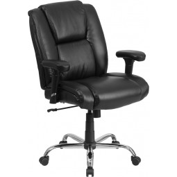 Signature Series 400 lb. Capacity Big & Tall Task Chair with Height Adjustable Arms - Black Leather