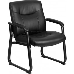 Signature Series Big & Tall 500 lb. Capacity Executive Side Chair with Sled Base - Black Leather