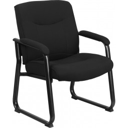 Signature Series Big & Tall 500 lb. Capacity Black Executive Side Chair with Sled Base - 2 Seat Options