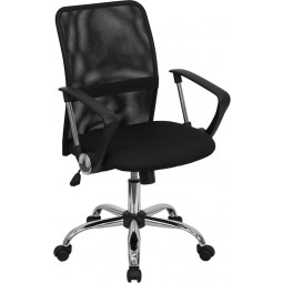 Mid-Back Black Mesh Computer Chair with Chrome Finished Base
