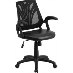 Mid-Back Mesh Chair with Leather Seat - Black