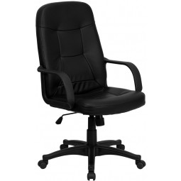 High Back Black Glove Vinyl Executive Office Chair - 2 Seat Options