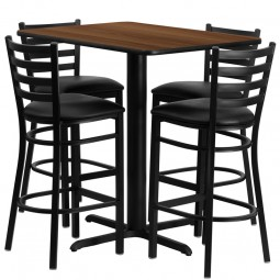 24''W x 42''L Rectangular Laminate Table Set with 4 Ladder Back Metal Bar Stools - Black Vinyl Seat - 4 Table Colors