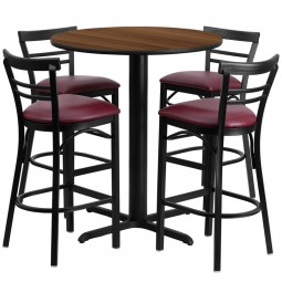 24'' Round Laminate Table Set with 4 Ladder Back Metal Bar Stools - Burgundy Vinyl Seat - 4 Table Colors