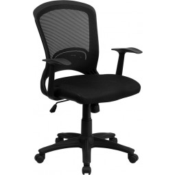 Mid-Back Black Mesh Chair with Padded Mesh Seat