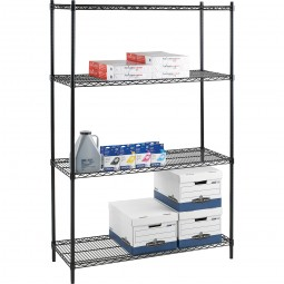 "Lorell Industrial Wire Shelving Units - 48""W x 24""D x 72""H - Black"