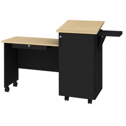 Maco Manufacturing Mobile Teacher Lecture Station - Maple/Black - LS-3856