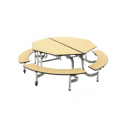"""60"""" Mobile Bench Octagon Table - AmTab MBOC604"""