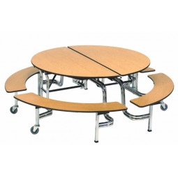 """60"""" Mobile Bench Round Table - AmTab MBR604"""